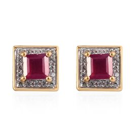 African Ruby (Sqr), Natural Cambodian Zircon Stud Earrings (with Push Back) in 14K Gold Overlay Ster