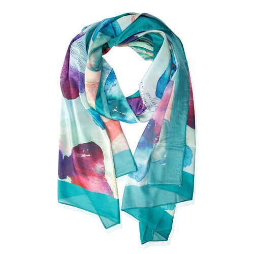 Turquoise Green and Multi Colour Butterfly Pattern Scarf (Size 170x75 Cm)