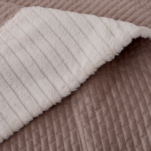 Matt Sateen Woven Quilted Blanket with Faux Fur Border in Taupe Colour (150x200 cm)