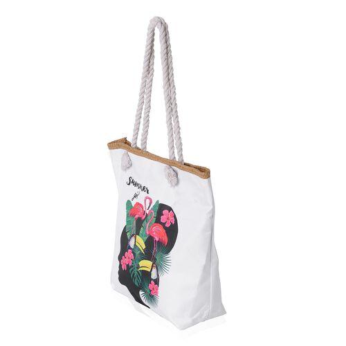 White, Black and Multi Colour 3D Girl Pattern Tote Bag (Size 46x39x32x13.5 Cm)