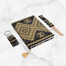 Jacquard Knitted Fabric Cover Diary (21x15cm) with Matching Keychain and Bookmark - Beige and Black