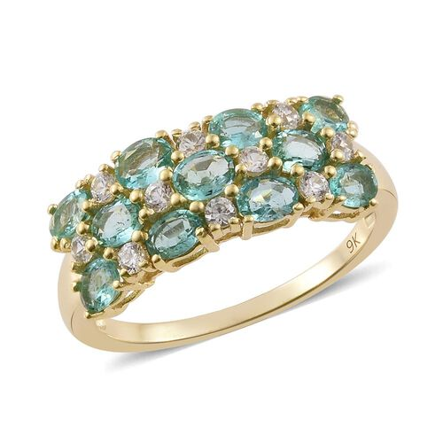 9K Yellow Gold Boyaca Colombian Emerald (Ovl), Natural Cambodian Zircon Ring 2.000 Ct.