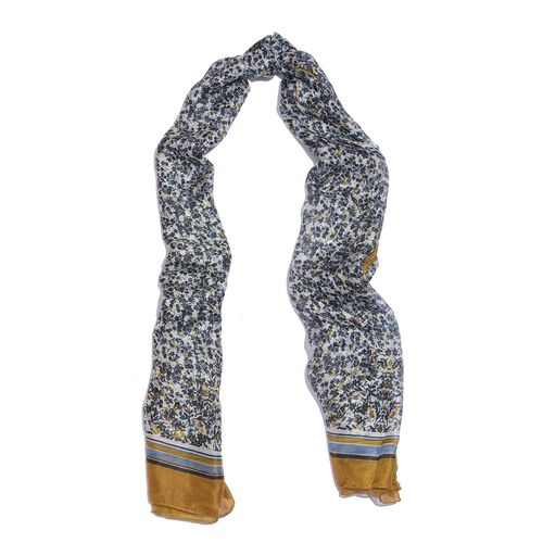 100% Mulberry Silk Navy, White and Multi Colour Handscreen Floral Printed Scarf (Size 200X180 Cm)