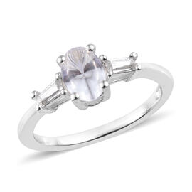 J Francis - Sterling Silver (Ovl) Ring (Size T) Made with SWAROVSKI ZIRCONIA, Carat wt 0.94 Ct.