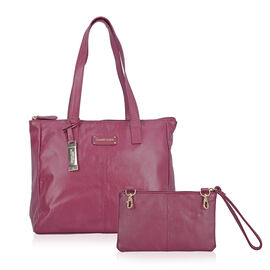 100% Genuine Leather Raspberry Tote Bag and RFID Wrislet with Zipper Closure