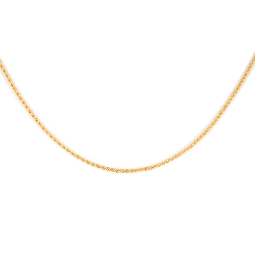 Made in Italy - 9K Yellow Gold Diamond Cut Rope Necklace (Size 20) with Small Round Clasp