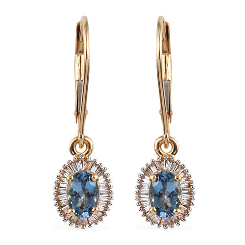 ILIANA 1.25 Ct AAA Santa Maria Aquamarine and Diamond Earrings in 18K Yellow Gold SI GH
