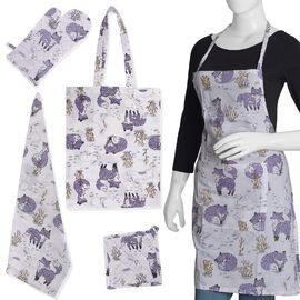 5 Piece Set - 100% Cotton Screen Printed Apron (65x100 Cm), Pot Holder (20x20 Cm), Glove (18x32 Cm),