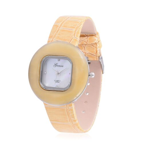 GENOA Japanese Movement White Austrian Crystal Studded White Dial Yellow Quartzite Water Resistant Watch in Silver Tone With Stainless Steel Back and Yellow Strap 55.000 Ct.