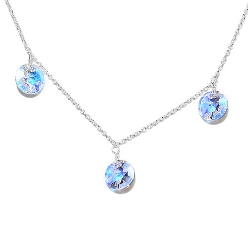 J Francis Crystal from Swarovski AB Crystal Station Necklace (Size 18) in Sterling Silver