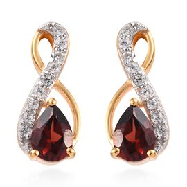 Mozambique Garnet (Pear), Natural Cambodian Zircon Earrings (with Push Back) in 14K Gold Overlay Ste