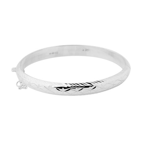 New York Designer Close Out Deal - Sterling Silver Textured Bangle (Size 7.5) SIlver Wt 8.80 Grams