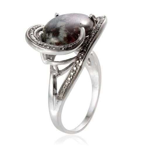 Natural Russian Eudialyte (Ovl 7.00 Ct), Black Diamond Ring in Platinum Overlay Sterling Silver 7.020 Ct.
