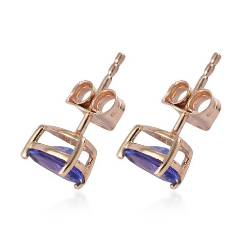 1.50 Ct AA Tanzanite Stud Earrings (with Push Back) in 9K Gold