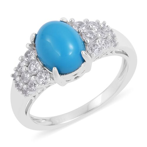 AA Arizona Sleeping Beauty Turquoise (Ovl 2.50 Ct), Natural White Cambodian Zircon Ring in Rhodium Plated Sterling Silver 3.520 Ct.