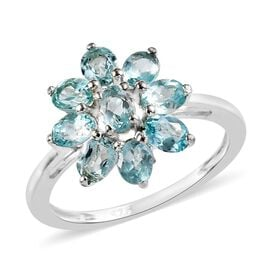 1.50 Ct Paraiba Apatite Floral Ring in Sterling Silver