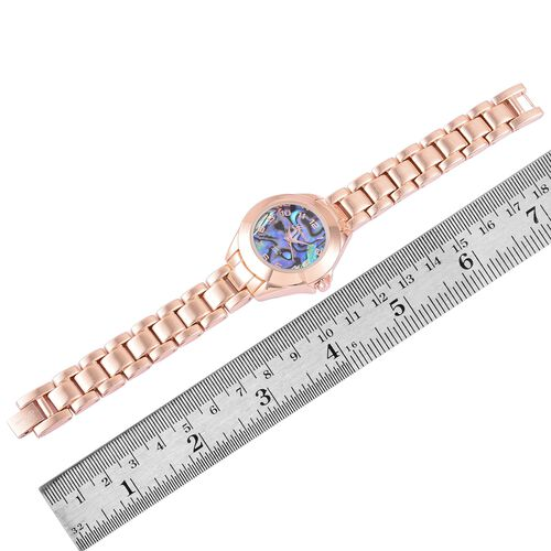 GENOA Japanese Movement Abalone Shell Dial Water Resistant Watch in Rose Gold Tone with Stainless Steel Back