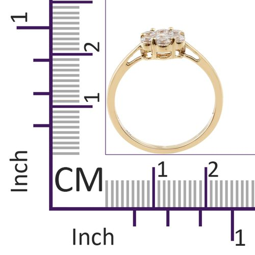 J Francis - 9K Yellow Gold (Rnd) 7 Stone Floral Ring Made with SWAROVSKI ZIRCONIA