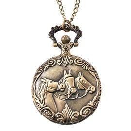Set of 2 - STRADA Japanese Movement Three-Horse Pattern Pocket Watch with Chain (Size 31) in Antique