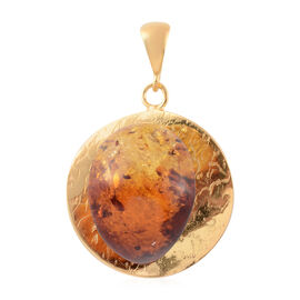 Baltic Amber Solitaire Pendant in Gold Plated Sterling Silver 10 Grams