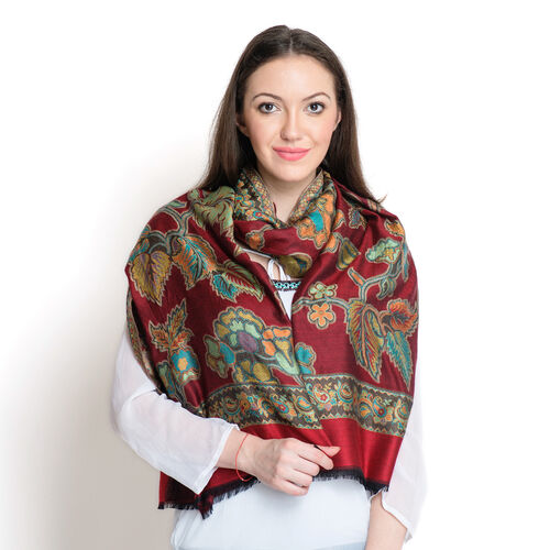 100% Superfine Modal Multi Colour Floral, Leaves and Paisley Pattern Burgundy and Orange Colour Jacquard Scarf (Size 190x70 Cm)