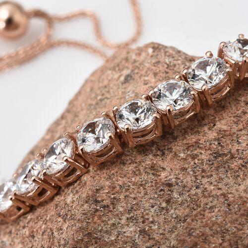 J Francis - Rose Gold Overlay Sterling Silver (Rnd) Adjustable Bracelet (Size 6.5 to 9) Made with SWAROVSKI ZIRCONIA