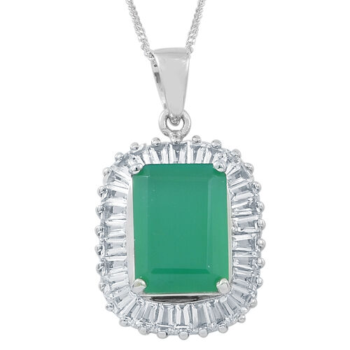 Verde Onyx (Oct 7.25 Ct), White Topaz Pendant With Chain in Rhodium Plated Sterling Silver 10.500 Ct.