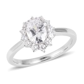 ELANZA Simulated Diamond (Ovl) Ring in Rhodium Overlay Sterling Silver