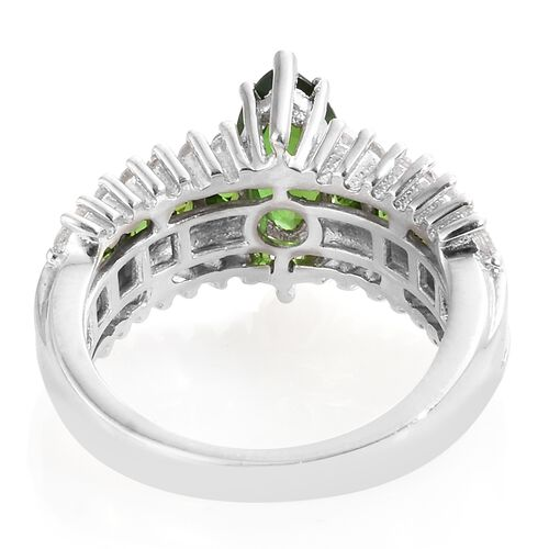Russian Diopside (Mrq), Natural Cambodian Zircon Ring in Platinum Overlay Sterling Silver 2.500 Ct.