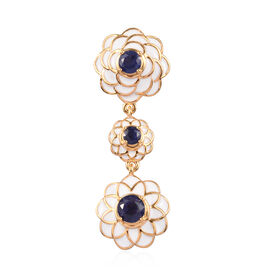 Masoala Sapphire Enamelled Floral Pendant in 14K Gold Overlay Sterling Silver 2.75 Ct, Silver wt 6.5