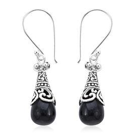 Royal Bali Black Jade Drop Hook Earrings in Sterling Silver