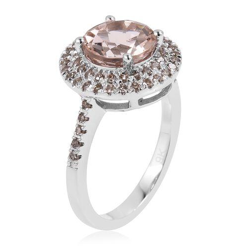9K White Gold AAA Marropino Morganite (Rnd 2.00 Ct), Natural Champagne Diamond Ring 2.360 Ct.
