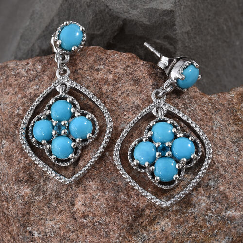 AA Arizona Sleeping Beauty Turquoise (Rnd), Malgache Neon Apatite Earrings (with Push Back) in Platinum Overlay Sterling Silver 3.250 Ct.