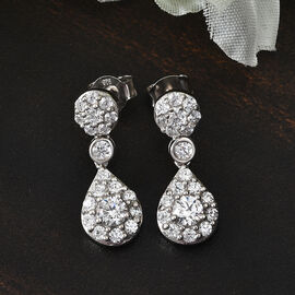 J Francis Platinum Overlay Sterling Silver Dangle Earrings (with Push Back) Made with SWAROVSKI ZIRCONIA 2.98 Ct.