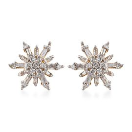 0.33 Ct Diamond Snowflake Cluster Stud Earrings in 14K Gold Plated Silver