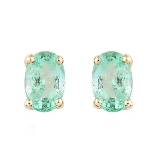 Boyaca Colombian Emerald Stud Earrings in 9K Gold (with Push Back) 1.00 Ct