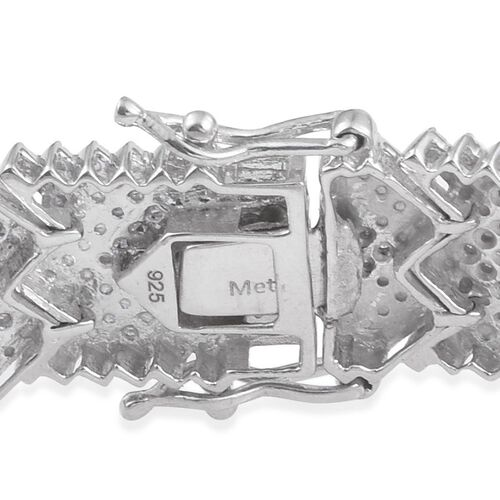 Diamond (Rnd 1.75 Ct) Studded Wave Bracelet (Size 7) in Platinum Overlay Sterling Silver 1.750 Ct, Silver wt 24.00 Gms, Number of Diamond 406