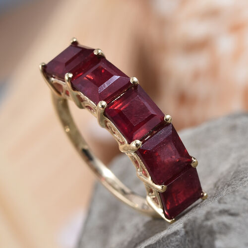 9K Yellow Gold AAA African Ruby (Sqr 5 mm) Five Stone Ring 5.500 Ct.