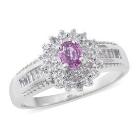 Pink Sapphire (Ovl), White Topaz Ring in Rhodium Overlay Sterling Silver 1.020 Ct