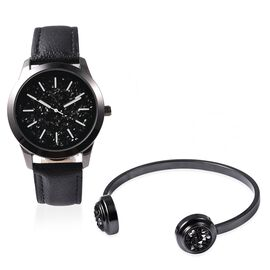 2 Piece Set - STRADA Japanese Movement Water Resistant Simulated Black Crystal Watch and Cuff Bangle