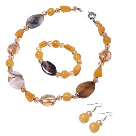3 Piece Set - Brown Agate and Yellow Beads Necklace (Size 20), Stretchable Bracelet (Size 6.50) and