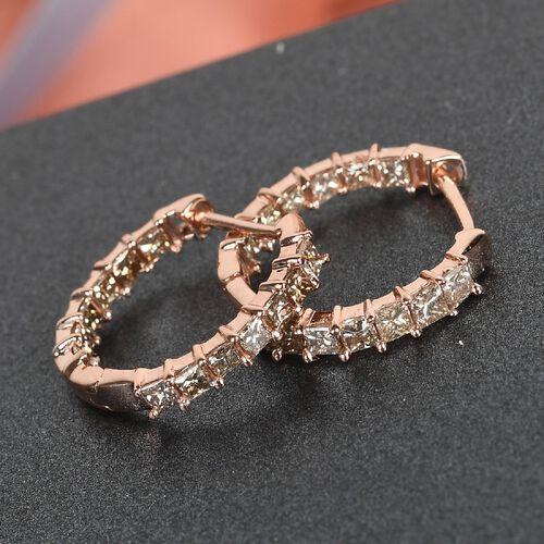 9K Rose Gold SGL Certified Champagne Diamond (I2-I3) Full Hoop Earrings 1.00 Ct.