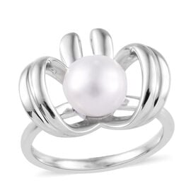 Freshwater Pearl Bow Ring in Platinum Overlay Sterling Silver, Silver wt 3.87 Gms.