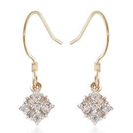 9K Yellow Gold Diamond Drop Hook Earrings 0.50 Ct.