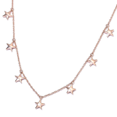 Rose Gold Overlay Sterling Silver Star Station Necklace (Size 18), Silver wt. 6.19 Gms