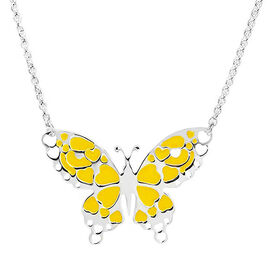 Sterling Silver Yellow Enamelled Butterfly Necklace (Size 18)