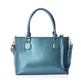 Metallic Teal Green Colour Tote Bag with Detachable Shoulder Strap and Zipper Closure (Size 48x24x11