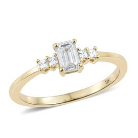 J Francis Made with SWAROVSKI ZIRCONIA 5 Stone Ring in 9K Yellow Gold 2.19 Grams
