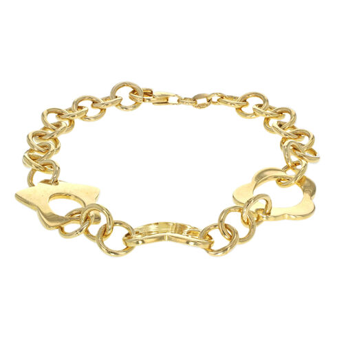 One Time Close Out Deal- 14K Yellow Gold Overlay Sterling Silver Bracelet (Size 7.5), Silver wt 16.35 Gms.