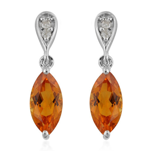 9K White Gold AA Citrine (Mrq), Diamond Earrings (with Push Back) 1.400 Ct.